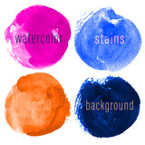 Vector set of hand drawn watercolor circles for backdrops. Colorful artistic hand drawn backgrounds. Hand drawn stains round shape set. - 228610521