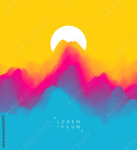 Krajobraz z górami i słońcem. Zachód słońca. Teren górski. Abstrakcyjne tło. Ilustracji wektorowych.