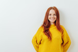 Happy smiling young redhead woman - 228637709