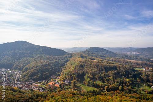 Sticker Blick auf Bindersbach von Burg Trifels