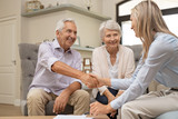 Senior couple shaking hands with financial advisor - 228644980