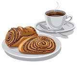 sweet rolls with a coffee