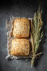 Fresh and homemade buns with sesame seeds