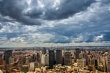 dramatic storm clouds over Sao Paulo skyline