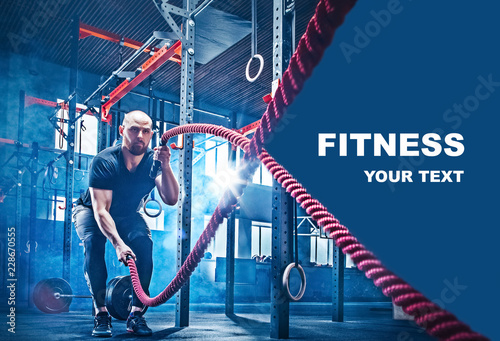 Sticker Men with battle rope battle ropes exercise in the fitness gym. CrossFit concept. gym, sport, rope, training, athlete, workout, exercises concept