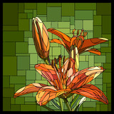 Vector stained glass window with blooming orange lilies and buds.