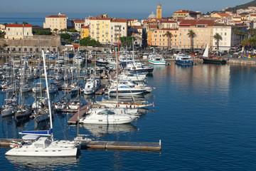 Ajaccio port. Coastal cityscape with yachts