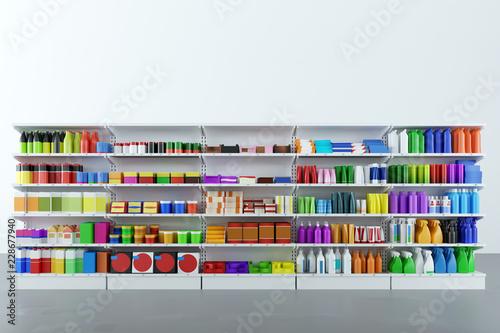 Leinwandbild Motiv Neutrale Produkte im Regal vom Supermarkt