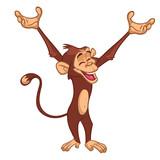 Cute cartoon monkey chimpanzee. Vector illustration isolated