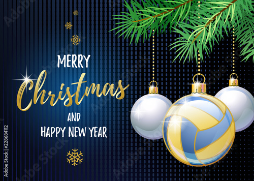 Merry Christmas and Happy New Year. Sports greeting card. Beach Volleyball ball as a Christmas ball. Vector illustration.