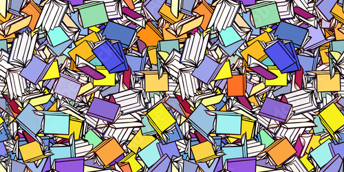 Fototapeta Viele Bücher als nahtloser Hintergrund Header