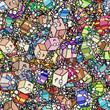 Leinwandbild Motiv Haufen Geschenke als nahtlose Hintergrund Tapete