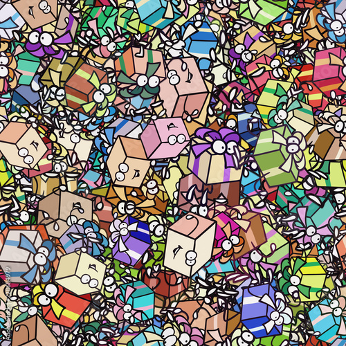 Obraz na płótnie Haufen Geschenke als nahtlose Hintergrund Tapete