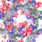 Hand painted merry christmas seamless pattern with watercolor Christmas tree, balls of blue colors, gifts and toys. - 228686746
