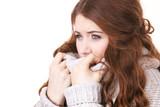 Woman feeling comfortable wearing soft sweater