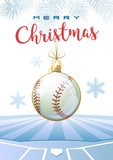 Merry Christmas. Sports greeting card. Realistic baseball ball in the shape of a Christmas ball. Vector illustration.