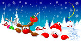 Cute Santa Claus and reindeer on Christmas night - 228706379