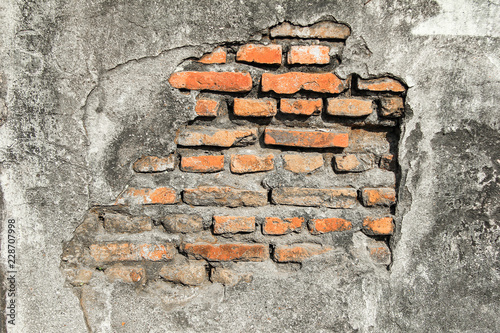 Brick texture grunge with concrete for old wall and background - 228707998