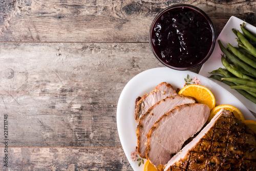 Tradicional homemade honey Glazed Ham for holidays. Top view. Copyspace - 228711748