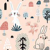 Semless woodland pattern with cute rabbits. Scandinaviann style childish texture for fabric, textile, apparel, nursery decoration. Vector illustration - 228716704