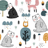 Semless woodland pattern with cute bear, hedgehog, owl, fox and hand drawn elements. Scandinaviann style childish texture for fabric, textile, apparel, nursery decoration. Vector illustration - 228716720