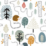 Semless woodland pattern with hedgehogs. Scandinaviann style childish texture for fabric, textile, apparel, nursery decoration. Vector illustration - 228716733