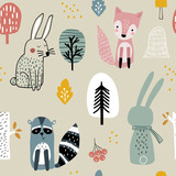 Semless woodland pattern with raccoon,fox,bunny and hand drawn elements. Scandinaviann style childish texture for fabric, textile, apparel, nursery decoration. Vector illustration - 228716746