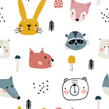 Semless woodland pattern with cute animal faces and hand drawn elements. Scandinaviann style childish texture for fabric, textile, apparel, nursery decoration. Vector illustration - 228716768