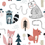 Semless woodland pattern with cute characters and hand drawn elements. Scandinaviann style childish texture for fabric, textile, apparel, nursery decoration. Vector illustration - 228716782