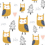 Seamless pattern with owls and trees. Creative woodland childish texture. Great for fabric, textile Vector Illustration - 228718145