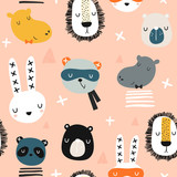 Seamless childish pattern with stylish monochrome animals . Creative scandinavian kids texture for fabric, wrapping, textile, wallpaper, apparel. Vector illustration - 228718178