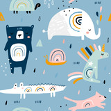 Seamless childish pattern with funny rainbow animals . Creative scandinavian kids texture for fabric, wrapping, textile, wallpaper, apparel. Vector illustration - 228718199