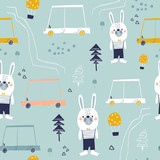 Seamless pattern with cute bunny, cartoon car, and woodland elements. Creative zoo childish texture. Great for fabric, textile Vector Illustration - 228718302
