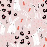 Seamless pattern with cute hand drawn bunny, leopard dots, carrots . Creative jungle childish texture. Great for fabric, textile Vector Illustration - 228718318