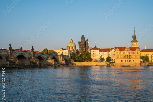 Fototapeta Pedestrians only Charles Bridge over Vltava river in Prague, Czech Republic