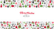 Greeting card Merry Christmas background. Vector illustration with Christmas elements snowflakes, trees, stars, Candy Cane, gifts