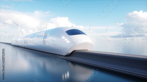speedly Futuristic monorail train. Sci fi station. Concept of future. People and robots. Water and wind energy. 3d rendering. © chagpg