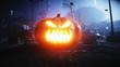 Halloween pumpkin in night destroyed city. Apocalypse concept. 3d rendering.