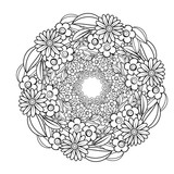 Adult coloring page with flowers pattern. Black and white doodle wreath. Floral mandala. Bouquet line art vector illustration isolated on white background. Round design element