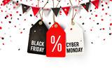 Black Friday und Cyber Monday Etiketten mit Wimpel Girlande und Konfetti - 228741134