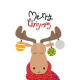 Funny moose with Christmas balls and lettering. Vector hand drawn illustration. - 228746555