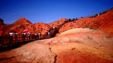 time lapse shot of China multi color mountain landscape at Danxia - 228766758