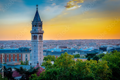 cityscape of Madrid with evening sky panorama view of the city - 228769146