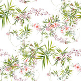 Watercolor painting of leaf and flowers, seamless pattern on white background - 228786104