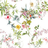 Watercolor painting of leaf and flowers, seamless pattern on white background - 228786110