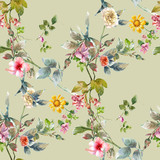 Watercolor painting of leaf and flowers, seamless pattern on gray background - 228786124