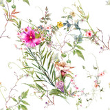Watercolor painting of leaf and flowers, seamless pattern on white background - 228786140