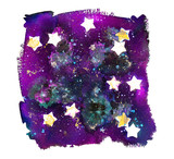 An abstract watercolour background texture with stars on a dark sky