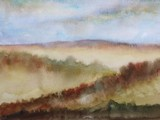 watercolor landscape autumn season mountain with blue sky.