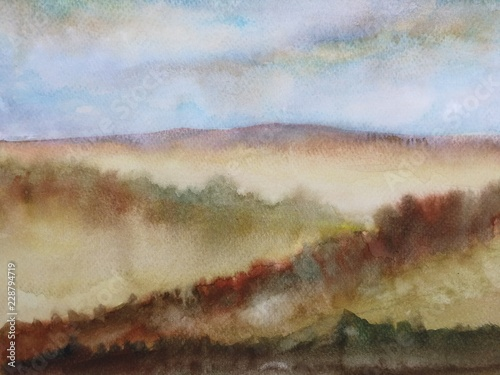 watercolor landscape autumn season mountain with blue sky. © atichat